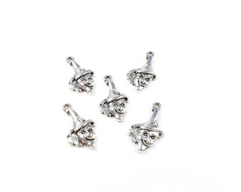 5 charms head witch / Halloween silver tone + / 23 x 13mm