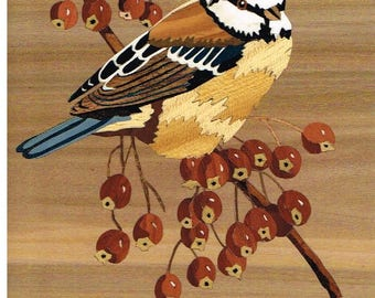 """marquetry art """"blue tit and red berries"""""""