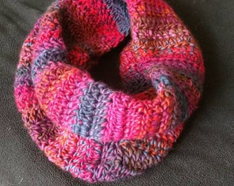 Red and Purple Color Pop Infinity Scarf