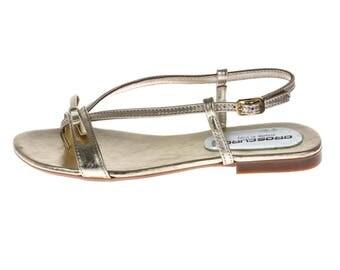Low Heel Thong Sandal Gold