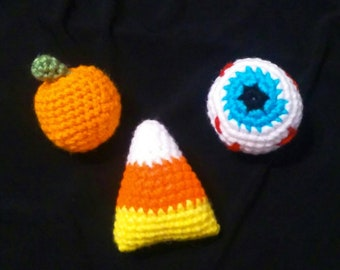 Crocheted Halloween Trio Candy Corn, Pumpkin, & Eyeball (Made to Order)
