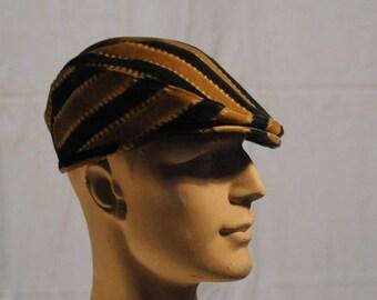 vintage blue striped velvet Cap size 56