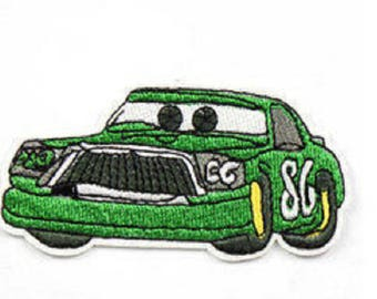 applique motif patch car Green cars embroidery sewing fusible