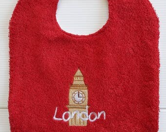 LONDON BIG BEN IN COTTON AND TERRY BIB