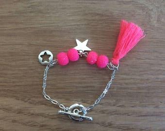 Girl bracelet pink Pom Pom