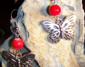 Earrings Butterfly & red glass beads