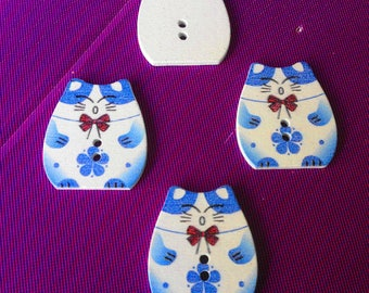 Buttons cats, blue wood, 4 buttons, form cat, cat, Katze Gatto, baby scrapbooking buttons wooden animal buttons