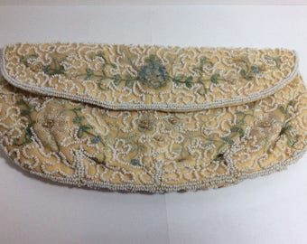 Vintage Embroidered Floral Beaded Cream Ivory Clutch Purse, Made in Belgium, Satin Lining