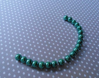 Set of 20 glass Pearl 8 mm Green beads