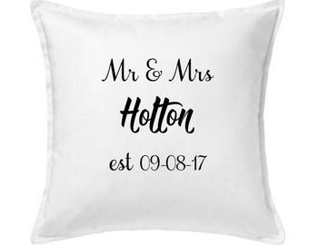 Wedding cushion cover, wedding gift, personalised gift, wedding present, date and name cushion, mr and mrs gift, marriage present, married