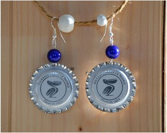 "Earrings ""Pélican"" beer Cap"