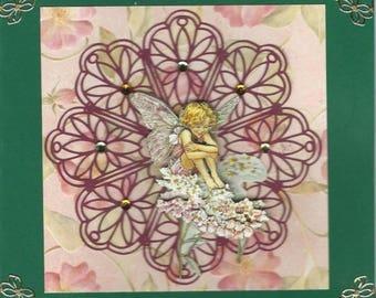 3D flower fairies on cut flower card