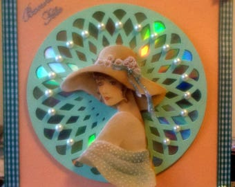 card 3D woman in hat on cd and cutting