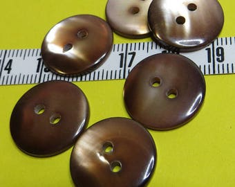 Brown mother of Pearl buttons 1.7 cm (6) - #5102_17