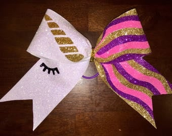 Deluxe Unicorn Cheer Bow with Hair Tie
