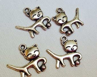 4 adorable silver cat charms