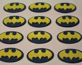 12 Batman Logo Edible Fondant Cupcake Toppers