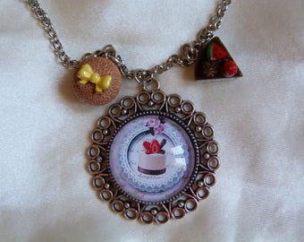 NECKLACE SILVER CABOCHON GOURMAND