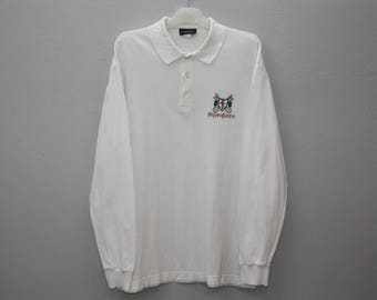 Vintage YSL Pour Homme White Cotton Long Sleeve Polo Shirt