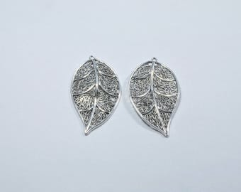 Set of 2 large leaf silver plated metal charms