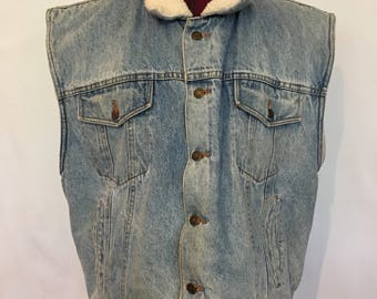 Pioneer denim fur lined vest.