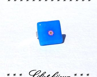Polymer clay blue cabochon ring