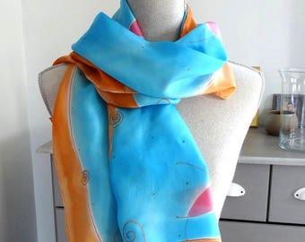Silk scarf turquoise scarf orange hand painted