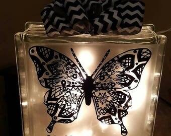 Glass Block, Lighted Glass Block, Night light, Home Decor, Wedding Gift, Bridal Shower, Anniversary, Personalized Gift