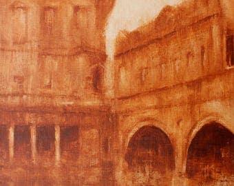 "Monochromatic Roman Baths. Original Painting. 8""x10"""