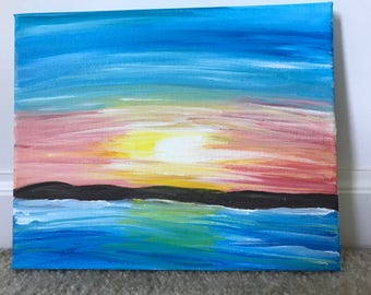 Acrylic Sunrise over Water on Canvas