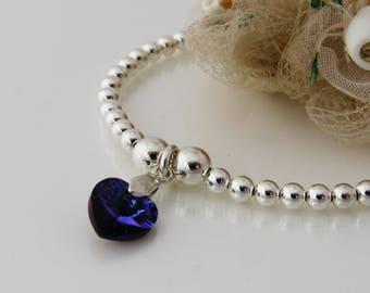 September Birthstone Bracelet, Sterling Silver Beaded Bracelet, Bridesmaid Bracelet, Sapphire Blue Crystal Heart Charm Bracelet