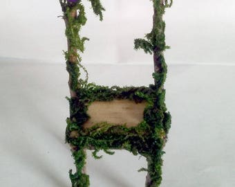 Miniature Rustic Fairy Chair Made With Twigs, Imitation Grass and 2 Crystal-like Purple Appliques
