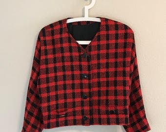 1950's Black and Red Plaid Cropped Blazer