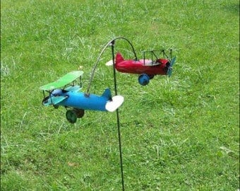 Recycled Metal Garden Art Bi-Plane - Red and Blue Planes