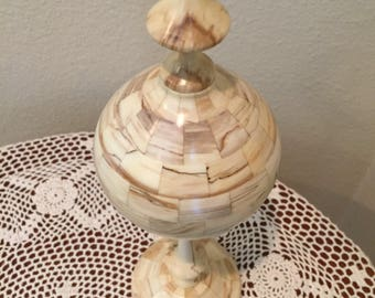 Segmented turned wood finial decorative woodturning
