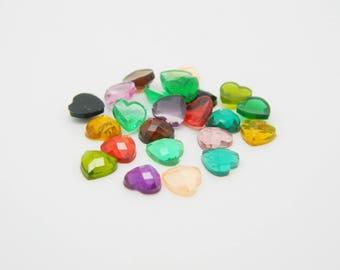 24 x Rhinestone Heart multicolor 6mm (l778)