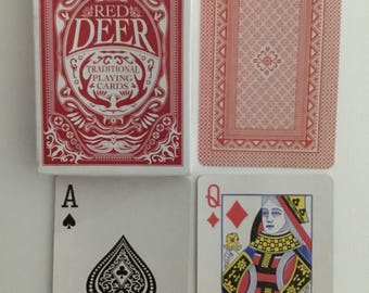 Red Deer, traditional playing cards. Red back