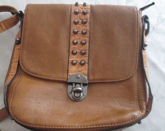 Faux Leather bag, Vintage bag, Shoulder Bag ,Daily lady bag, Old brown bag, Gift for her, Ladies accessory, Woman Bag, Brown Shoulder Bag