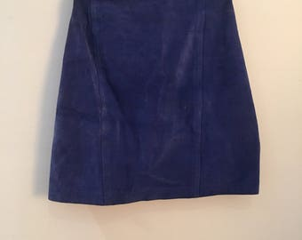 Vintage blue suede skirt