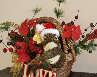 Ready to ship, XL Christmas Centerpiece, Holiday Table Basket Centerpiece, Winter Season, Floral Arrangement, LG Centerpiece, Christmas gift