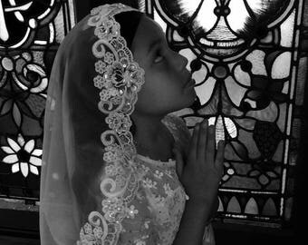 White Communion Mantilla Veil