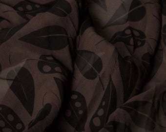 Vintage Jean Muir Leaf Print Brown Fabric Apparel Fabric Fashion Fabric Quilting Fabric Home Decor Fabric Craft Supplies Fabric By The Meter
