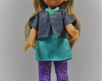 legging violet tunique vert émeraude et veste bleue poupée chérie corolle