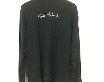 Karl Helmut Sweatshirt Sweater Full Buttons Double Pockets Spellout