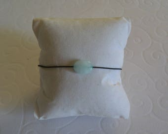 Cord and Semi precious blue frosted Jade stone bracelet