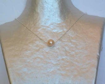 Pearl cultured Peach on silver chain necklace