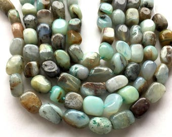 "Natural Blue Peruvian Opal Nugget Freeform Beads - 8"" strand"
