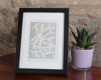 A5 linocut decoration - pattern lines - silver