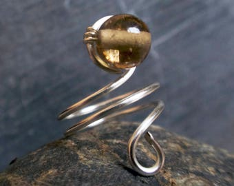 Spiral Teardrop Wire Ring