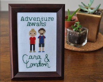 2 Person/Pet Custom Cross Stitch Portrait